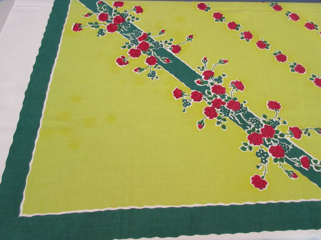 Shabby Red Green Roses on Chartreuse Startex Floral Vintage Printed Tablecloth (52 X 49)