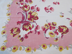 Smudgy Yellow Tulips on Pink Floral Vintage Printed Tablecloth (47 X 46)