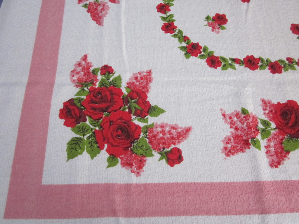 Terry Red Roses Pink Lilacs Floral MWT Vintage Printed Tablecloth (70 X 52)