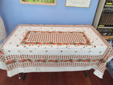 Fall Autumn Chrysanthemum Checkerboard MWT Floral Vintage Printed Tablecloth (67 X 47)