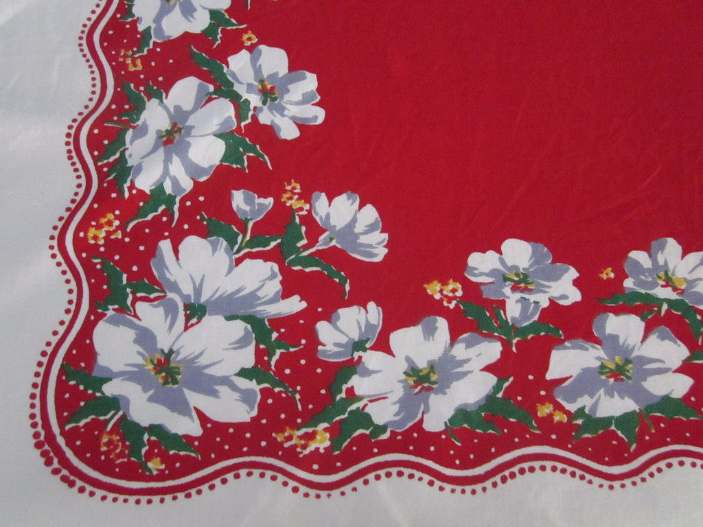 White Green Wild Roses on Red Floral Vintage Printed Tablecloth (54 X 48)