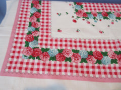 Pink Red Chrysanthemum Checkerboard MWT Floral Vintage Printed Tablecloth (66 X 47)