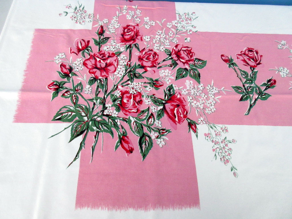Pink Green Roses on Pink Bars Floral Vintage Printed Tablecloth (60 X 52)