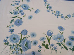 Blue Green Poppies Daisies Cutter? Floral Vintage Printed Tablecloth (54 X 47)
