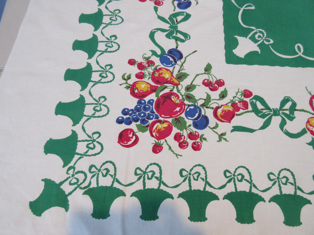 Fruit Baskets on Green Cutter? Floral Vintage Printed Tablecloth (51 X 46)