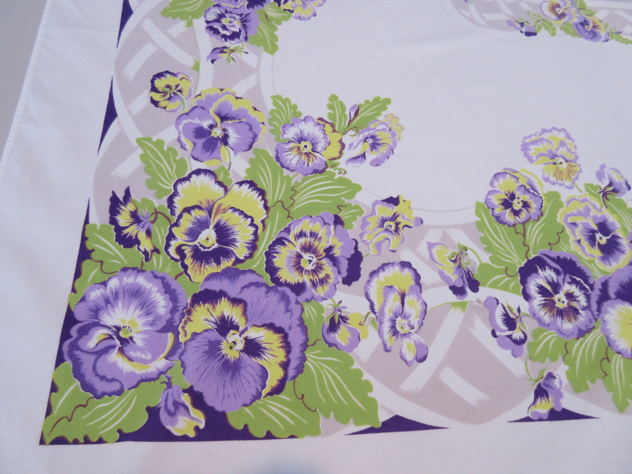 CHP Purple Pansies Tan Basketweave Floral Vintage Printed Tablecloth (64 X 52)