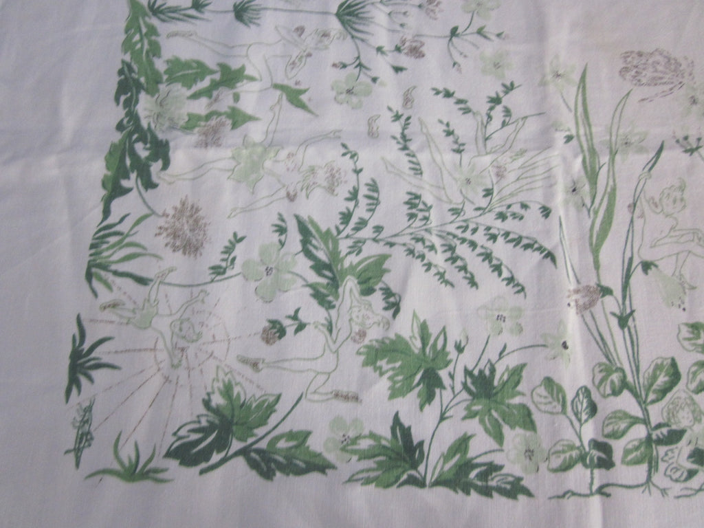 Rare Fairy Garden Linen Novelty Vintage Printed Tablecloth (68 X 48)