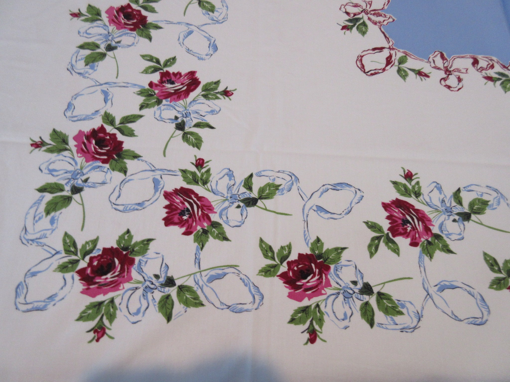 Magenta Roses Blue Ribbons on Blue Floral Vintage Printed Tablecloth (52 X 48)