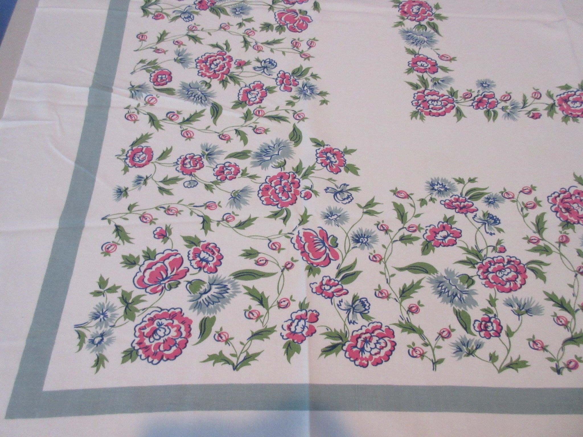 Pink Chrysanthemums on Teal Floral Vintage Printed Tablecloth (52 X 45)