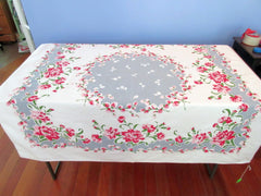 Pink Carnations Pussy Willows on Gray Floral Vintage Printed Tablecloth (49 X 47)