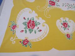 Pink Red Roses on Golden Yellow Floral Vintage Printed Tablecloth (60 X 54)
