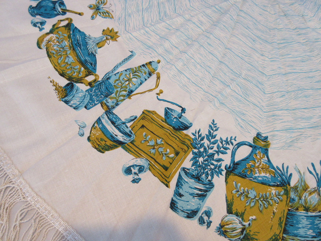ROUND Blue Colonial Household Items NWT Novelty Vintage Printed Tablecloth (57 inches ROUND)