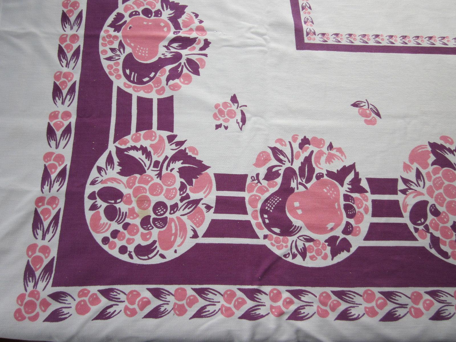 Pink Magenta Fruit Cutter? Vintage Printed Tablecloth (60 X 50)