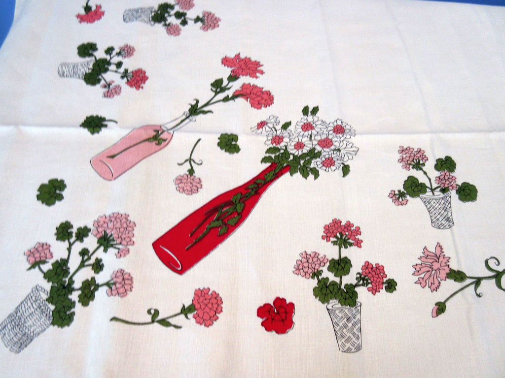 Unwashed Modern Flower Arrangements Jars Linen Floral Vintage Printed Tablecloth (72 X 51)