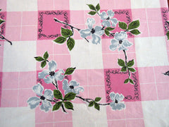 Unusual Gray Dogwood on Pink Plaid Linen Floral Vintage Printed Tablecloth (64 X 50)