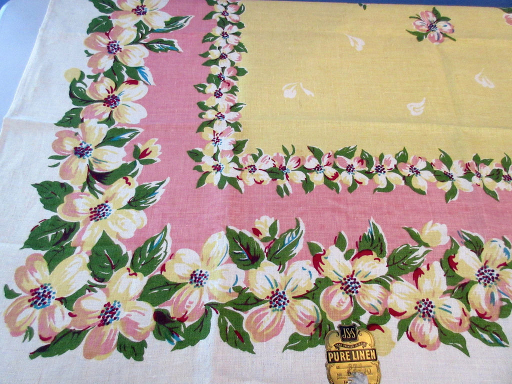 Amazing Dogwood on Pink Yellow MWT Linen Floral Vintage Printed Tablecloth (70 X 53)