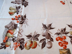 Brown Orange Fruit and Bows MWT Linen Vintage Printed Tablecloth (52 X 51)