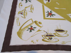 Calaprint Coffee Cups Coffeepot Novelty Vintage Printed Tablecloth (51 X 44)