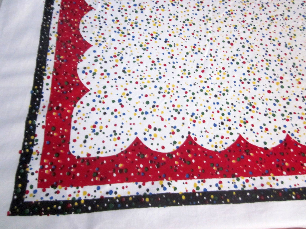 Primary Confetti on Red Black Novelty Vintage Printed Tablecloth (63 X 52)
