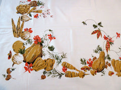 60s Golden Tan Vegetables MWT Vintage Printed Tablecloth (68 X 51)