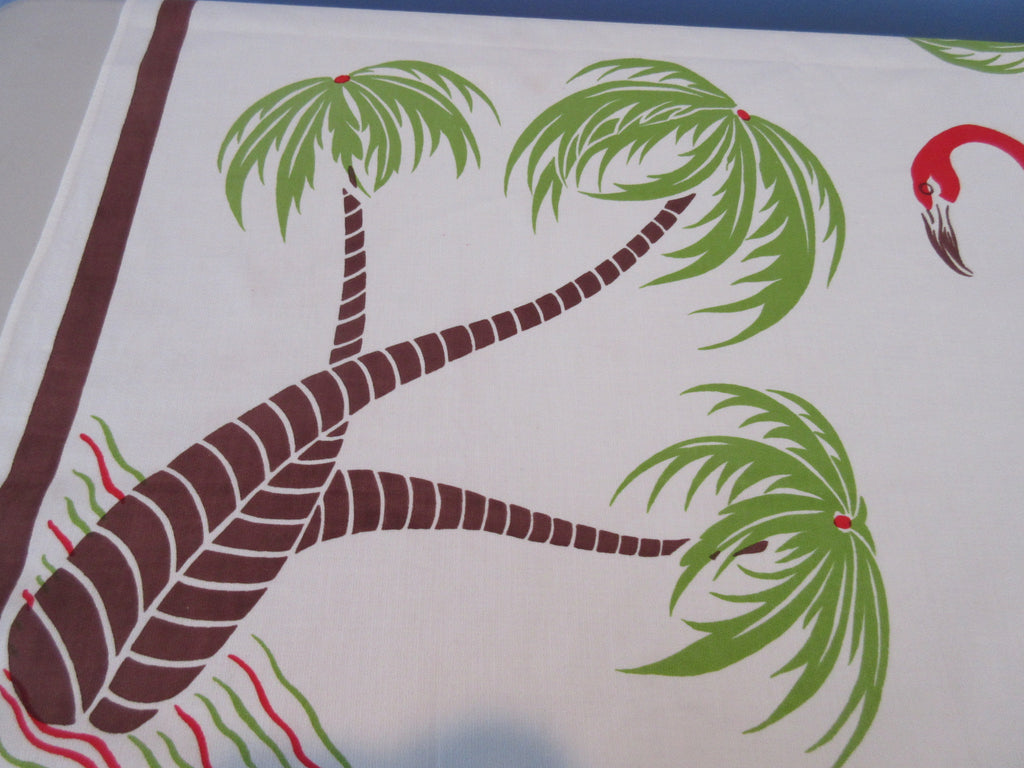 Tropical Flamingoes Palm Trees Topper Novelty Vintage Printed Tablecloth (43 X 40)