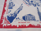 Rare Unwashed 1930s New York City Souvenir Novelty Vintage Printed Tablecloth (52 X 49)