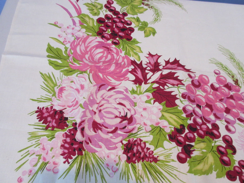 Pink Chrysanthemums Grapes Linen Fall Floral MWT Vintage Printed Tablecloth (52 X 51)