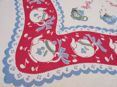 Rare Unwashed Singing Teapots Broderie Linen Novelty Vintage Printed Tablecloth (49 X 49)