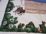 Large Startex Cowboy MWT Banquet Novelty Vintage Printed Tablecloth (89 X 53)