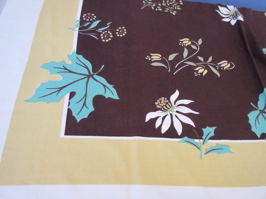 Fall Maple Leaves Poinsettias Napkins Novelty Vintage Printed Tablecloth (61 X 52)