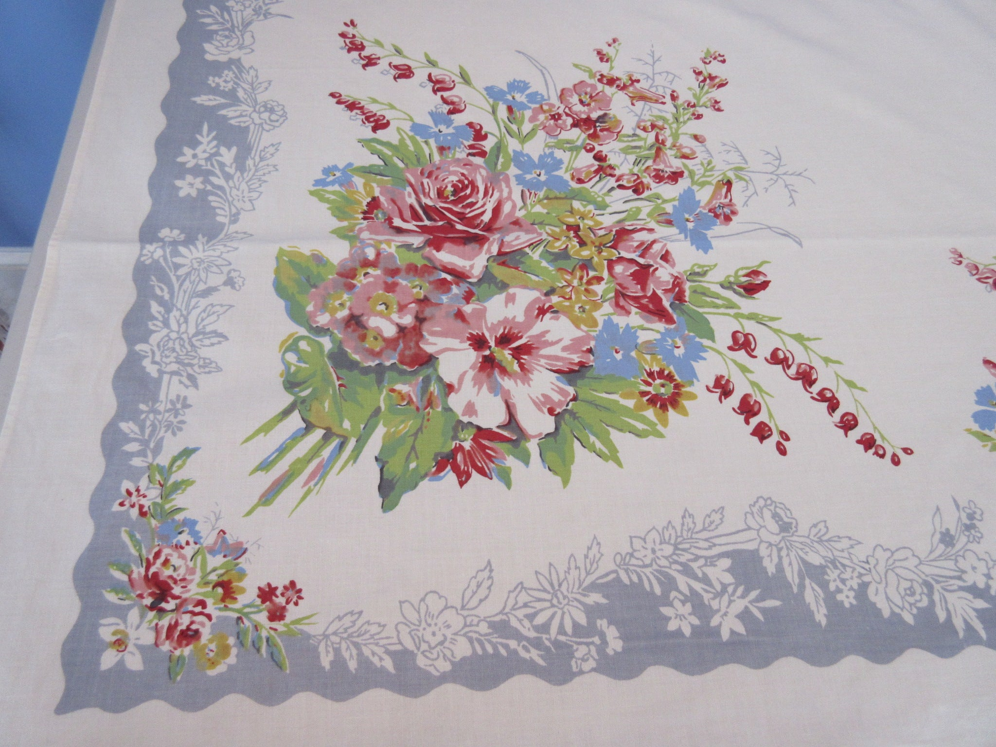 Pastel Roses Flower Bunch on Gray Floral Vintage Printed Tablecloth (68 X 54)