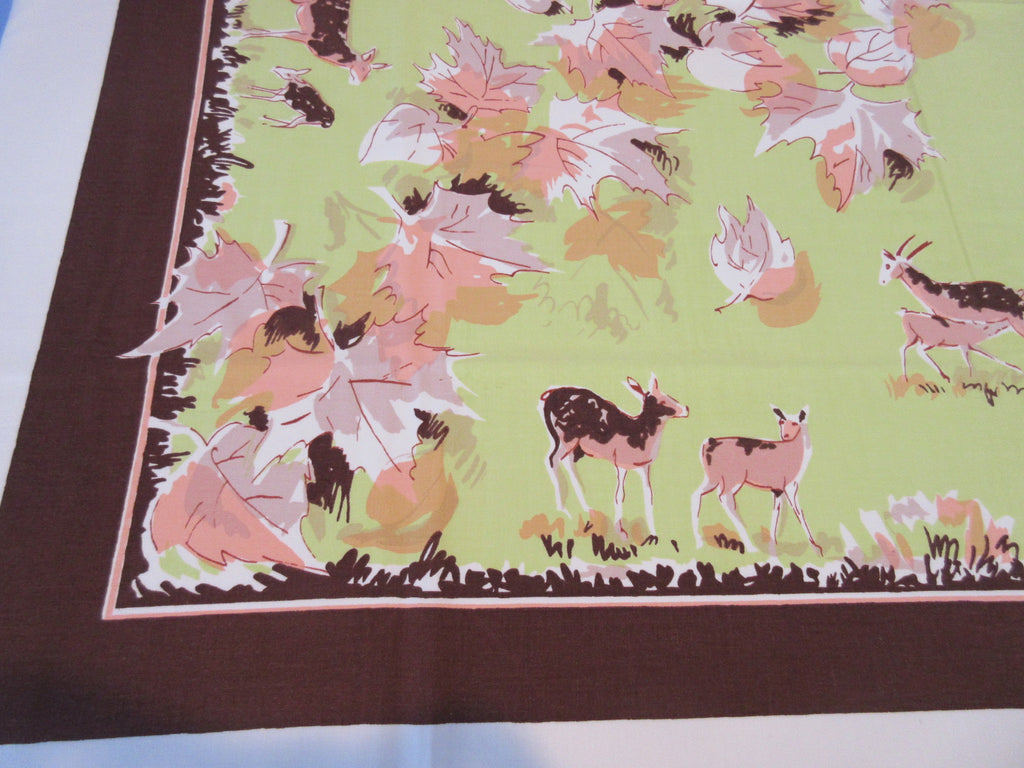 HTF Parisian Prints Deer Autumn Fall Novelty Vintage Printed Tablecloth (52 X 47)