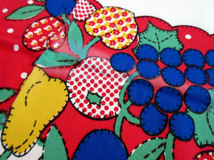 Primary Applique Quilt Fruit Polkadot CUTTER? NWT Vintage Printed Tablecloth (51 X 51)