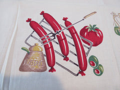 BBQ Barbecue TOPPER Cutter Novelty Vintage Printed Tablecloth (32 X 32)