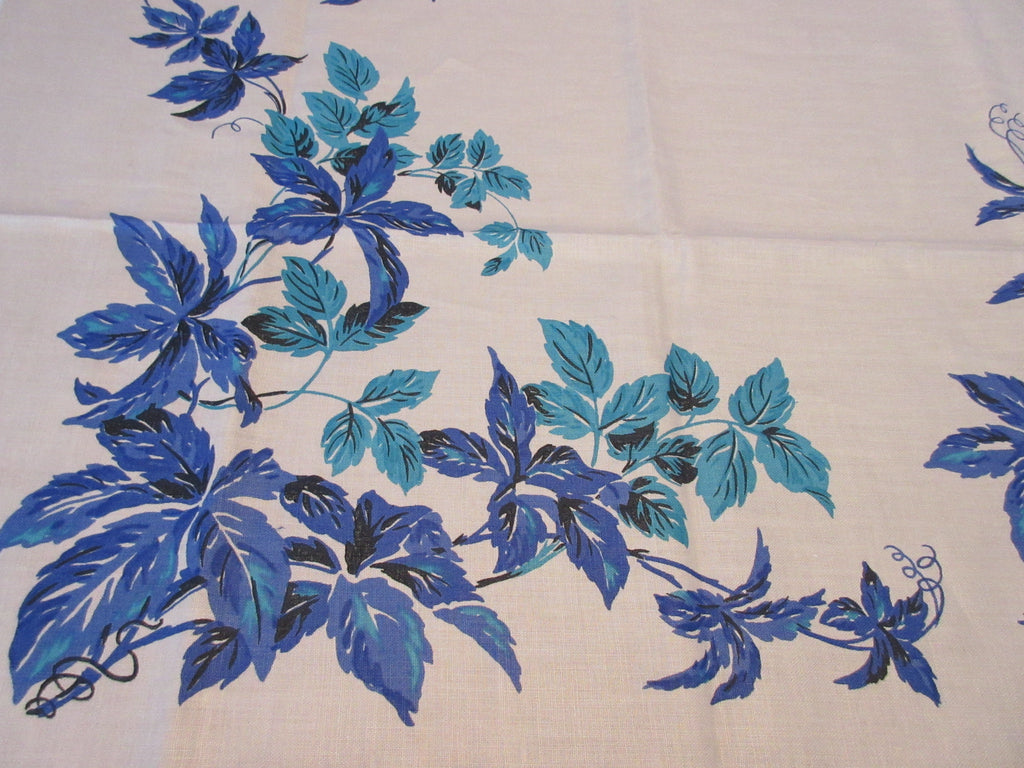 Hardy Craft Blue Leaves on TAN MWT Novelty Vintage Printed Tablecloth (71 X 51)