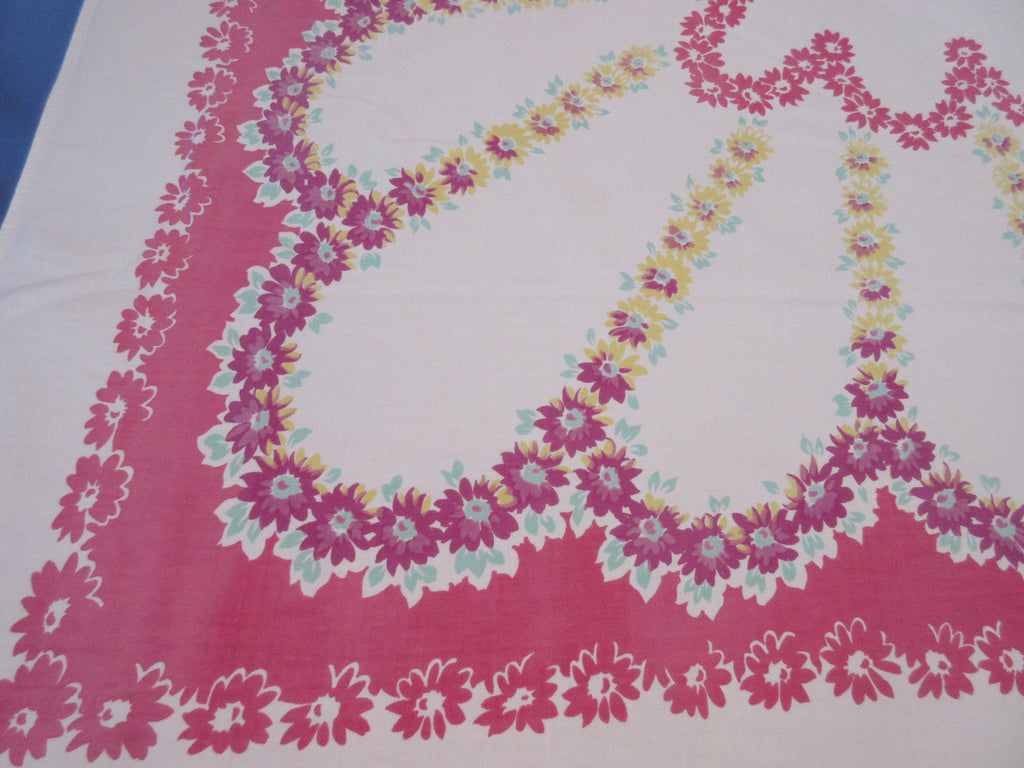 Shabby Larger Yellow Daisies on Pink Floral Vintage Printed Tablecloth (62 X 53)