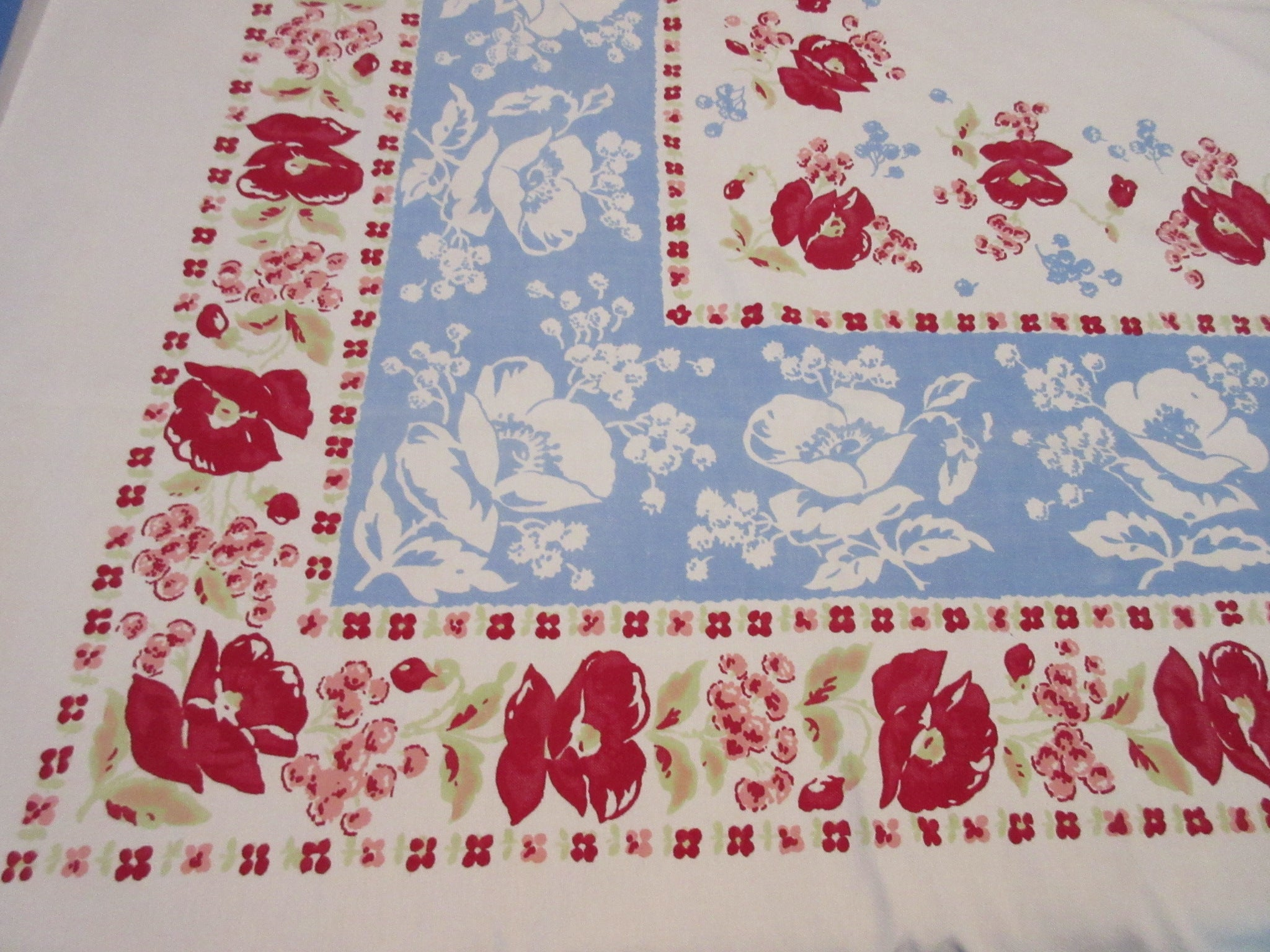 Red Poppies on Blue Reverse Printed Napkins Floral Vintage Printed Tablecloth