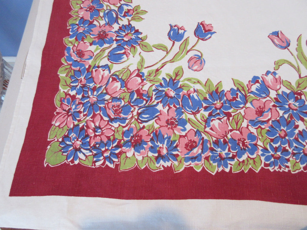 Pink Blue Tulips on Burgundy Linen Floral Vintage Printed Tablecloth (63 X 52)