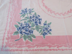 Faded Blue Rhododendrons on Pink CUTTER Floral Vintage Printed Tablecloth (41 X 41)