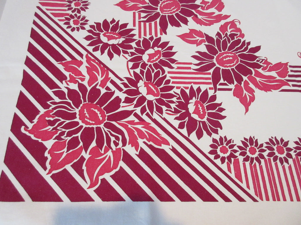 Red Magenta Geometric Sunflowers Floral Vintage Printed Tablecloth