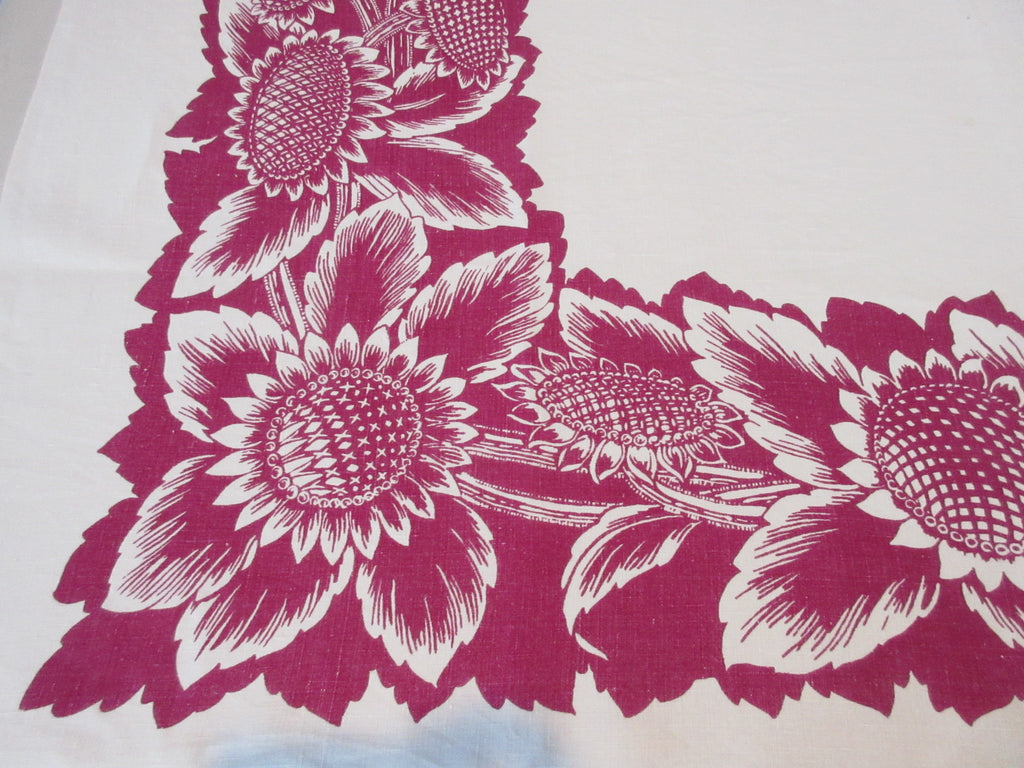 Early Giant Magenta Sunflowers Floral Vintage Printed Tablecloth (52 X 51)