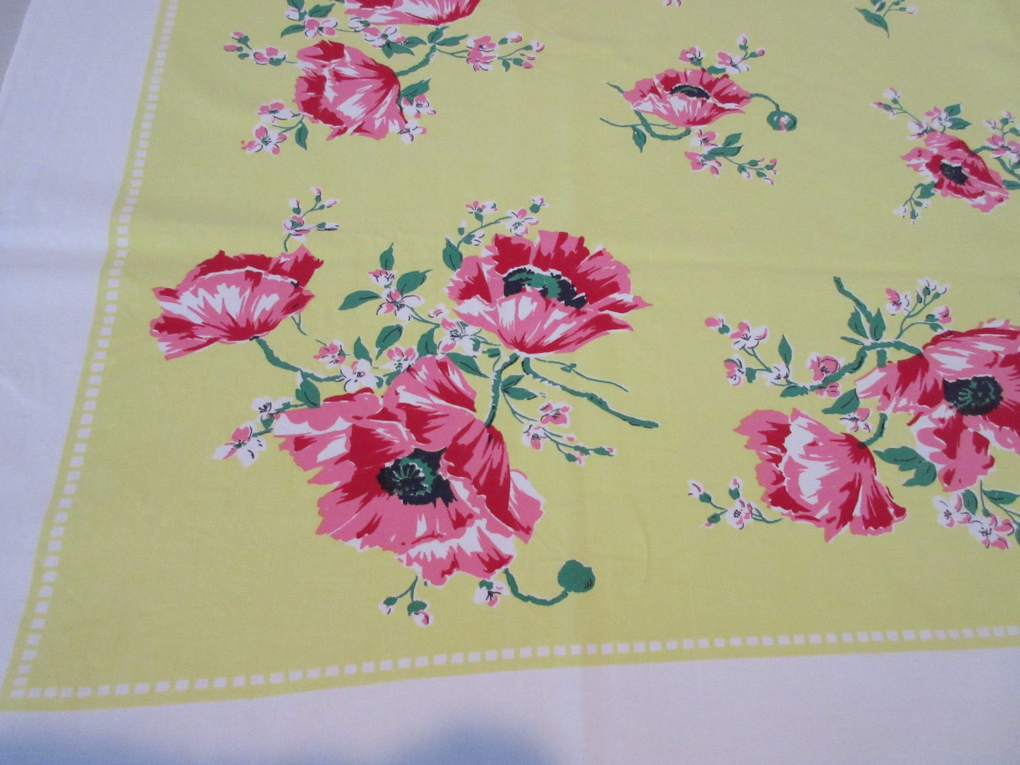 Bright Pink Green Poppies on Lemon Yellow Floral Vintage Printed Tablecloth (53 X 48)