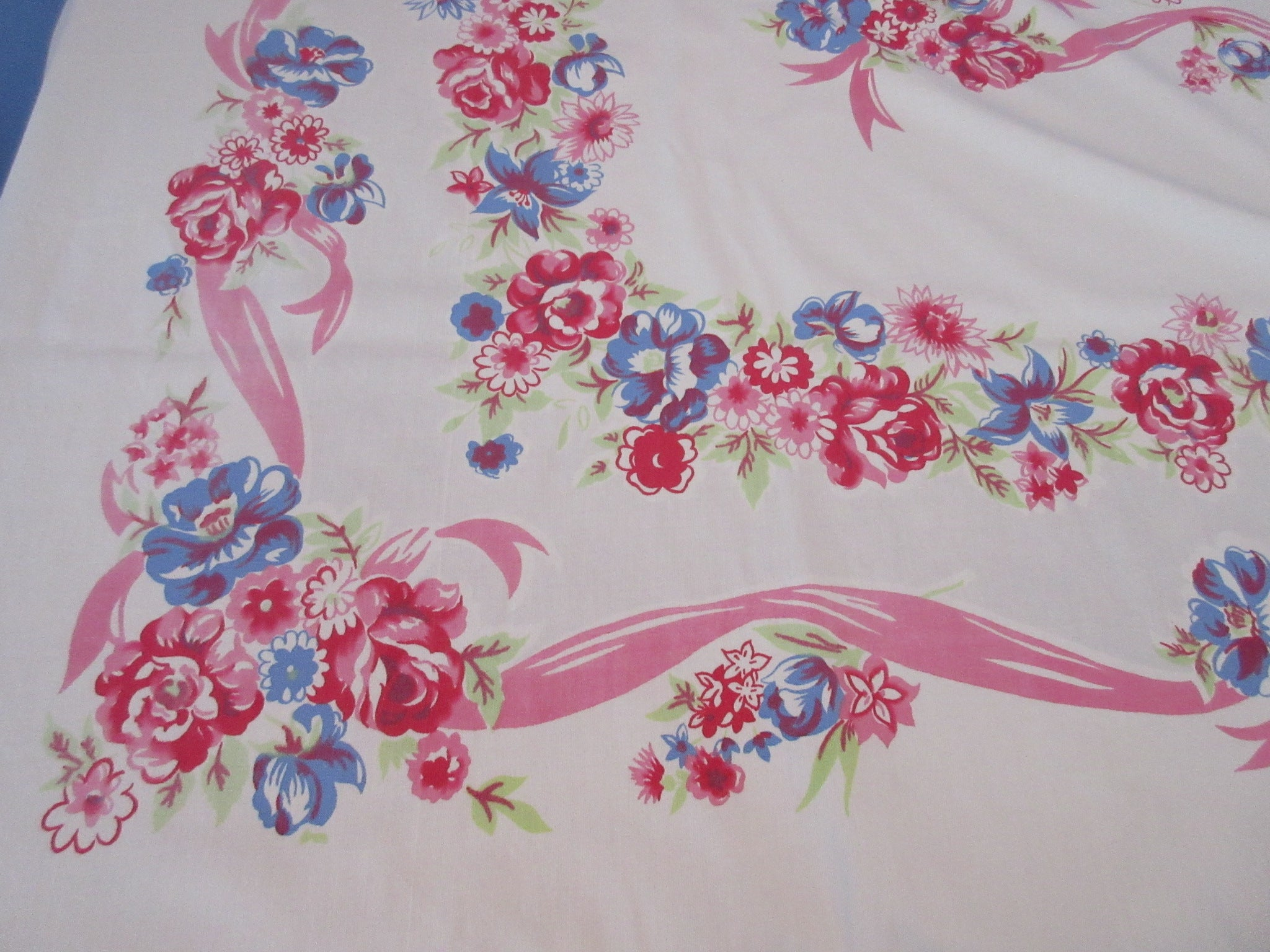 Large Pink Blue Roses Ribbons Floral Vintage Printed Tablecloth (84 X 57)