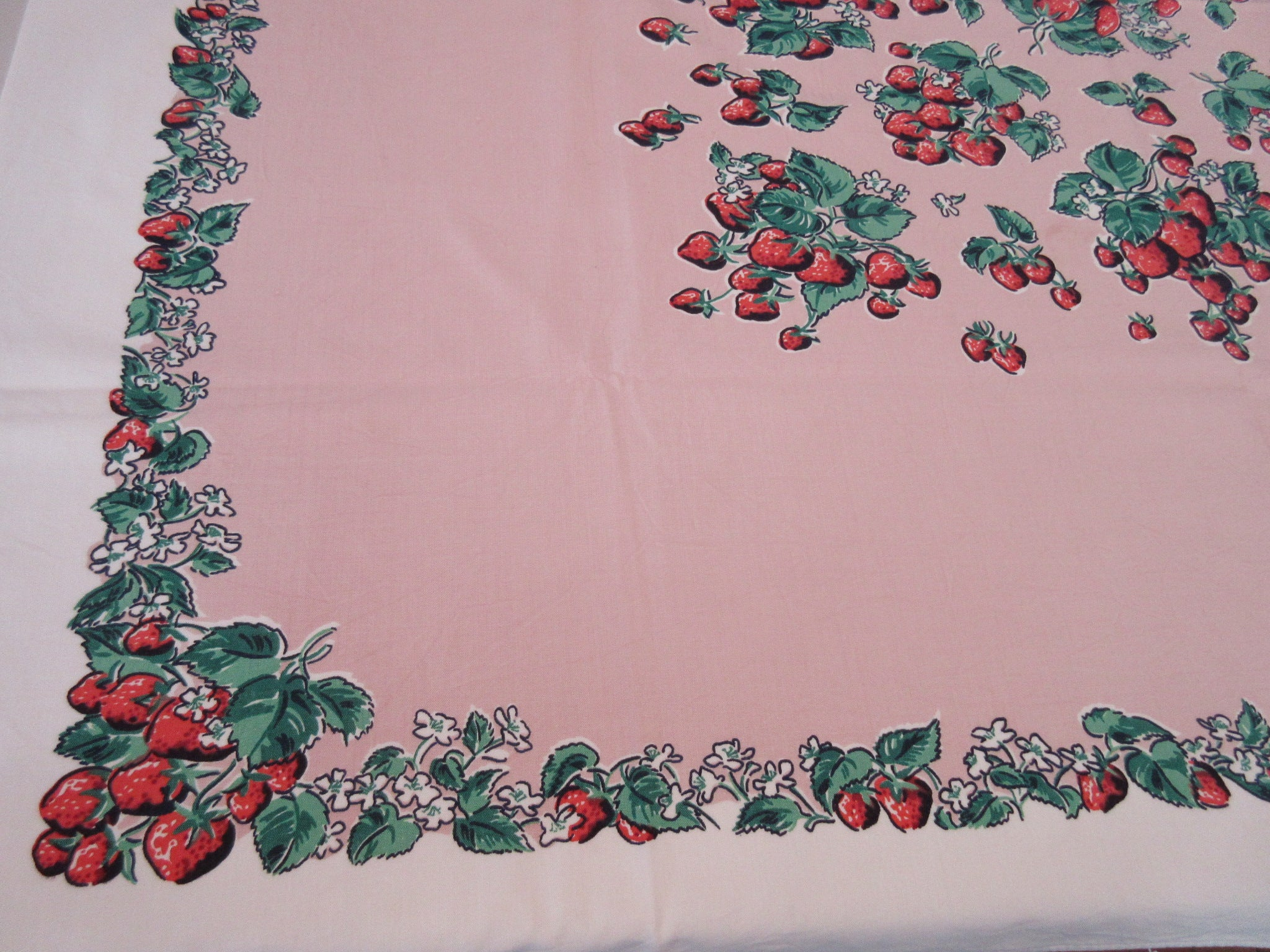 Sweet Strawberries on Pink Fruit Simtex Vintage Printed Tablecloth (51 X 46)