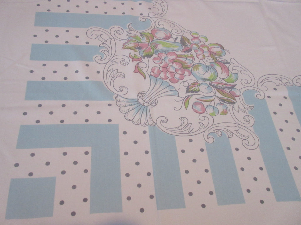 Soft Pastel Fruit Gray Dots Blue Stripes Fruit Vintage Printed Tablecloth (52 X 45)