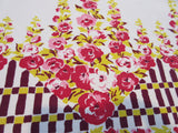 Fall Hollyhocks Fence Pink Yellow Magenta Floral Vintage Printed Tablecloth (52 X 46)