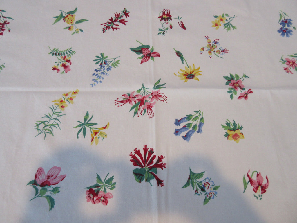 Wilendur Wildflower Array Trilliums Lupines Floral Vintage Printed Tablecloth (54 X 51)