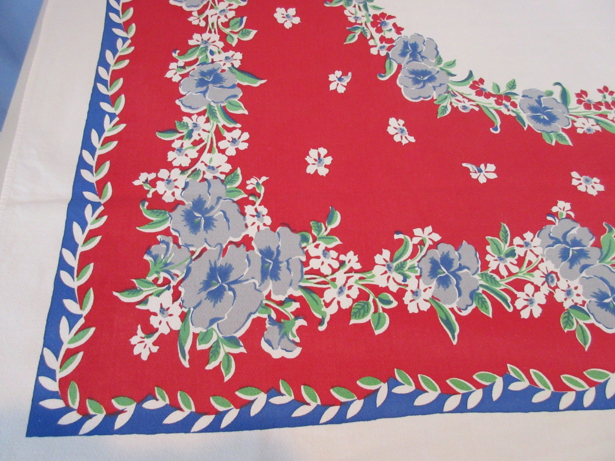 Blue Gray Green Pansies on Red Floral Vintage Printed Tablecloth (63 X 48)
