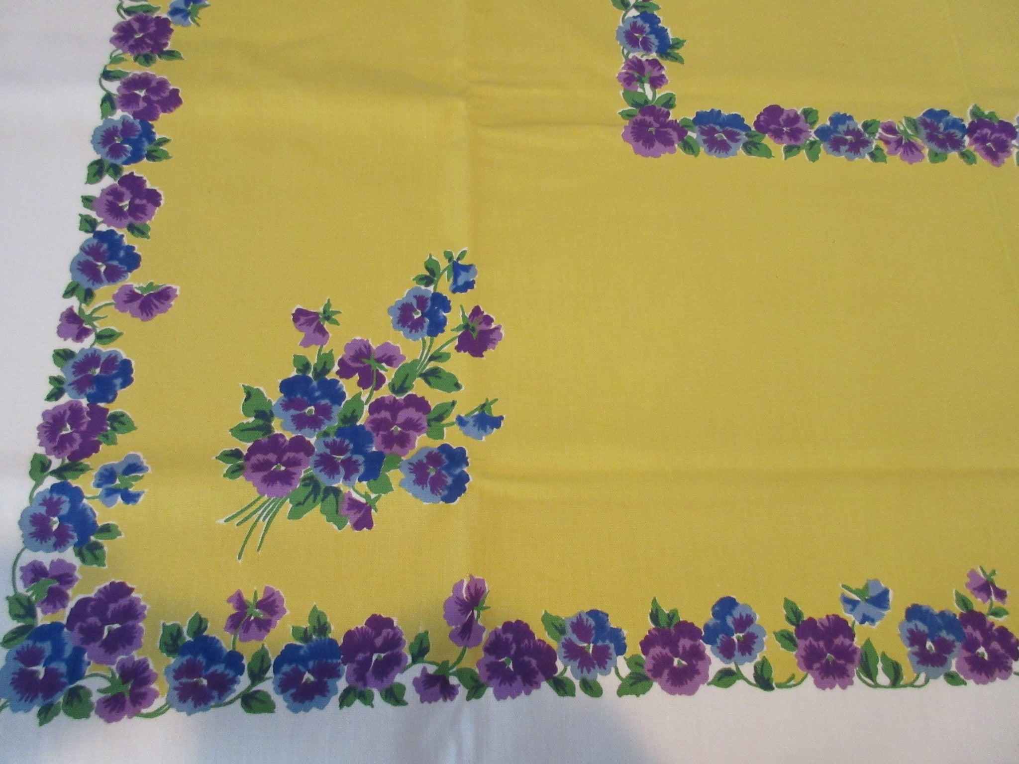 Unwashed Purple Blue Pansies on Gold Startex Floral Vintage Printed Tablecloth (53 X 51)