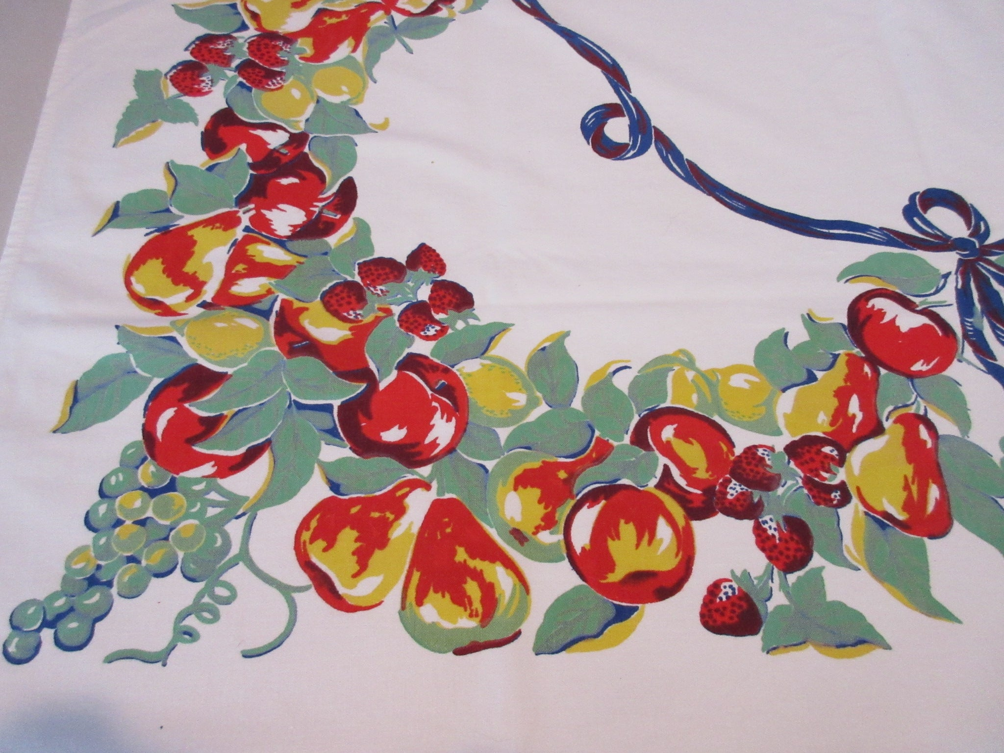 Primary Fruit Blue Ribbon Vintage Printed Tablecloth (49 X 48)